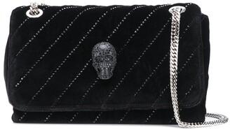 Philipp Plein Crystal-Skull Velvet Shoulder Bag