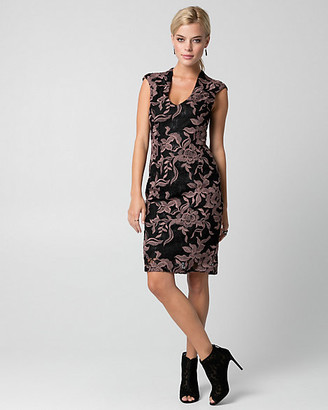 Le Château Embroidered Lace V-Neck Shift Dress