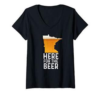 Womens Funny Minnesota Here For The Beer Craft Beer V-Neck T-Shirt
