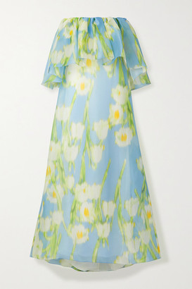 Carolina Herrera Off-the-shoulder Floral-print Silk-organza Maxi Dress - Light blue