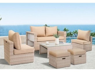 Brayden Studio Tyron Outdoor 6 Piece Rattan Sofa Seating Group with Cushions