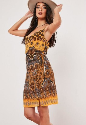 Missguided Scarf Print Cowl Neck Mini Dress