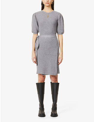 NEVER FULLY DRESSED Boat-neck wrap-over knitted mini dress