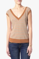 7 For All Mankind Striped Sweater In Cream And Cognac