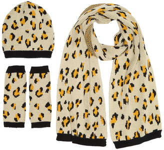 French Connection Leopard Print Hat, Gloves, & Scarf 3-Piece Set