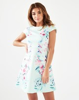 Lipsy Floral Print Textured Skater Dress