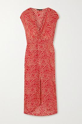 Vix Fiorella Celina Zebra-print Voile Midi Dress - Red