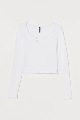 H&M Ribbed Top - White