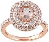Stella Grace 14k Rose Gold Morganite & 9/10 Carat T.W. Diamond Oval Halo Engagement Ring