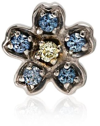 Loquet 18kt white gold Forget Me Not diamond flower charm
