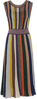 Missoni Convertible Wrap-effect Pleated Metallic Knitted Dress - Black