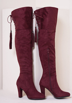 Missy Empire Candie Wine Suede Thigh High Heeled Boots