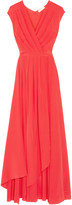 Tory Burch Pleated silk crepe de chine wrap gown