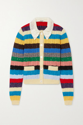 Miu Miu Crochet-trimmed Sequined Striped Cable-knit Cardigan - White