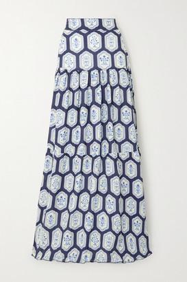 Agua Bendita Anis Printed Linen Maxi Skirt - Navy