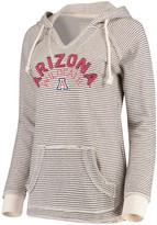 Unbranded Women's Blue 84 Cream Arizona Wildcats Striped French Terry V-Neck Pullover Hoodie