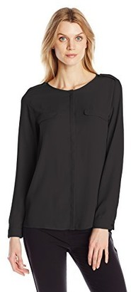 Dockers Women's Crepe Pocket Georgette Long Sleeve Shirt