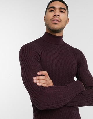 ASOS DESIGN muscle fit merino wool cable knit turtle neck sweater in burgundy