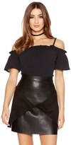 Quiz Black PU Panel Zip Mini Skirt
