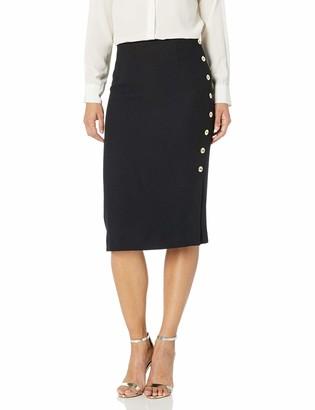 Tahari ASL Women's Petite Pencil Skirt with Side Seam Button Detail