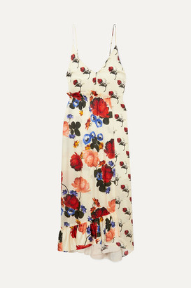 Mother of Pearl Wrap-effect Floral-print Silk-satin Maxi Dress - Ivory