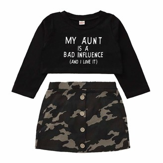 Verve Jelly Toddler Baby Girl Long Sleeve Letter Print Blouse+ Button A-Line Camouflage Skirt Outfits Set 2pcs Fall Outfits Set