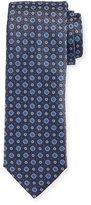 Canali Flower Medallion Silk Tie, Blue