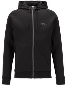 HUGO BOSS Logo-print hooded sweatshirt with contrast zip