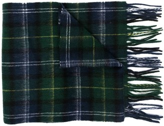 Barbour Tartan-Print Fringed-Trim Scarf