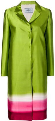 Prada Pre-Owned Concealed Fastening Panelled Coat