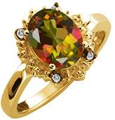 Gem Stone King 2.32 Ct Oval Mango Mystic Topaz and White Topaz 18k Yellow Gold Ring