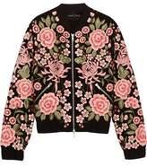 Needle & Thread Embroidered Embellished Crepe Bomber Jacket