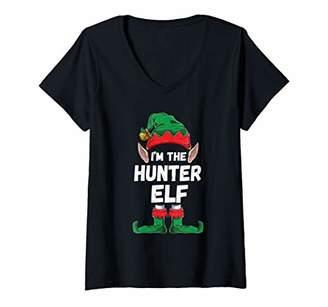 Hunter Womens I'm the Elf Family Matching Group Christmas Gift V-Neck T-Shirt