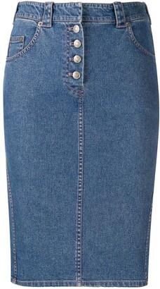 Christian Dior 1990s Fitted Denim Skirt