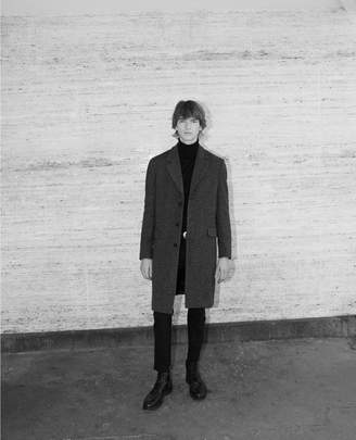 The Kooples Martingale belt grey leather collar wool coat