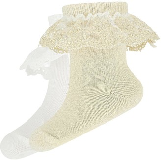 Monsoon Baby Girls 2 Pack Lace Socks - Gold