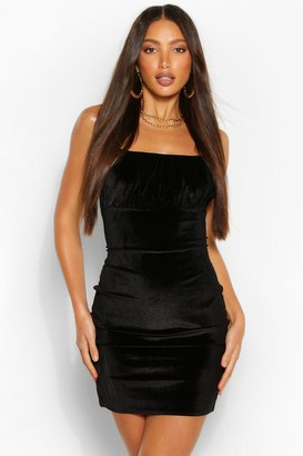 boohoo Tall Velvet Gathered Bust Bodycon Mini Dress