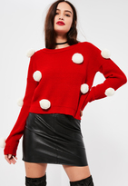 Missguided Red With White Pompoms Christmas Sweater