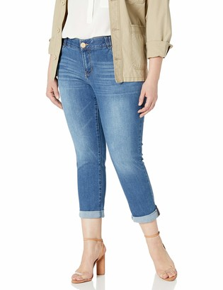 Democracy Women's Plus Size Denim Ab Solution Crop