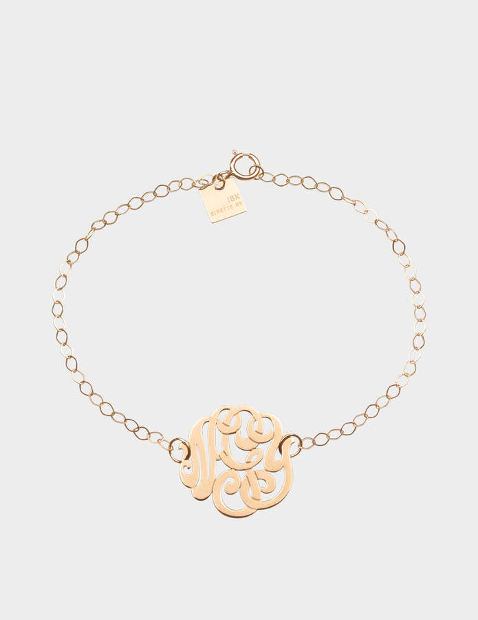 ginette_ny Mini Lace Monogram 18-karat rose gold bracelet