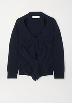Dion Lee Cutout Wool And Cashmere-blend Sweater - Navy