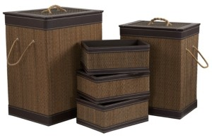 Household Essentials Square Bamboo Hampers and Baskets with Faux Leather Accents, 5-Pc. Set