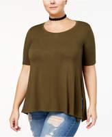 Celebrity Pink Trendy Plus Size Side-Slit T-Shirt