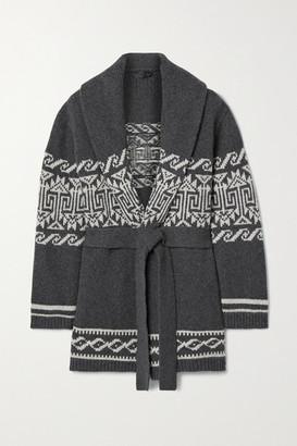 Nili Lotan Liliana Belted Wool-blend Jacquard Cardigan - Anthracite