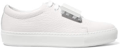 Acne Studios Adriana Plaque-detailed Textured-leather Sneakers - White
