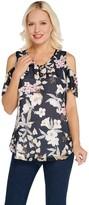 Isaac Mizrahi Live! Tropical Floral Clip Dot Blouse