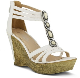 Spring Step Patrizia by Back-Zip T-Strap Sandals - Pearl