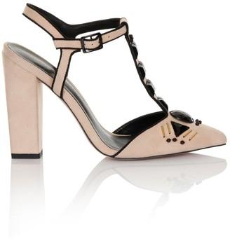 Little Mistress Footwear Nude T-Bar Embellished Chunky Heels
