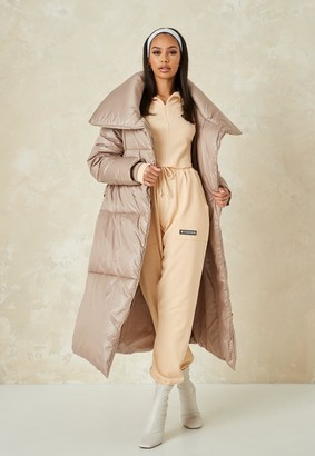 Missguided Tall Stone Maxi Belted Puffer Coat