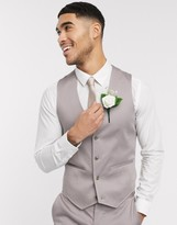 Asos Design DESIGN wedding skinny suit suit vest in gray stretch cotton